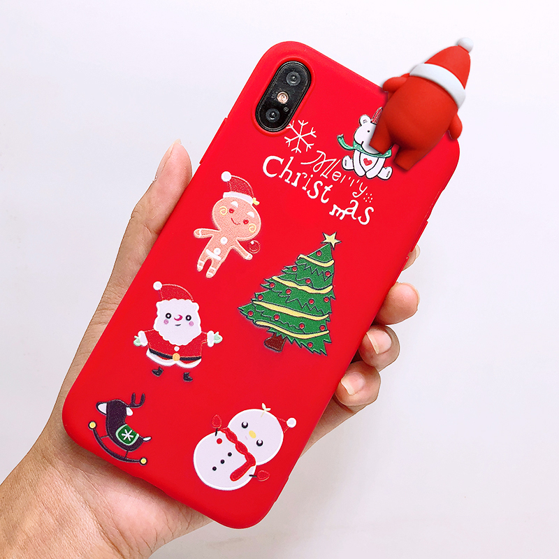 Phone Case For iPhone 7 5 S 5S SE 6 6s 7 8 Plus X XR XS Max Fashion Cute Cartoon Christmas Lovely Santa Claus Elk Soft TPU Cover (43)