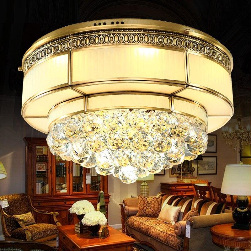 LED modern crystal ceiling lamp retro fashion bedroom study lamp restaurant ceiling light copper fashion family lighting<br><br>Aliexpress