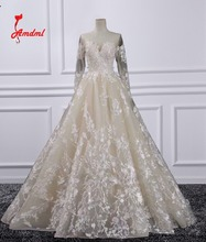 Amdml Luxury Appliques A-Line Princess Voile Wedding Dresses 2017 Embroidery Lace Bridal Gowns Open Back Vestidos De Novias(China)