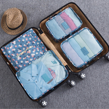 6pcs/set Fashion Double Zipper Waterproof Polyester Men and Women Luggage Travel Bags packing cubes(China)