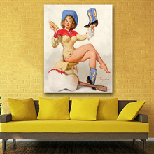 Frameless Painting Beautiful Girl Wipping The Shoes Canvas Printing For living room modern abstract oil painting