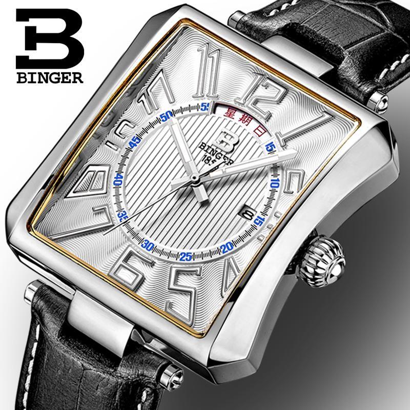 Switzerland BINGER mens watch luxury brand Tonneau Quartz waterproof leather strap Wristwatches B3038<br>