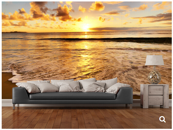 Custom natural landscape wallpaper,Beautiful tropical sunset on the beach,3D photo mural for living room restaurant  wallpaper<br>