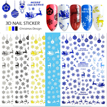 1 Sheet 3d Nail Stickers Christmas 2017 Design White Black Adhesive Nail Art Tip Cartoon Elk Snowflake DIY Color Manicure SAF283(China)