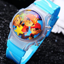New Cartoon Boy's Funny BOBOi Boy Children Watches Wholesale 100pcs/lot Waterball Color Light Flashing Wristwatches Hot Sale New