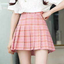 Buy Women Plaid pleated skirt 2018 Spring Summer New Women High Waist Mini skirt School girl skirts casual clothes Red Khaki Blue for $14.49 in AliExpress store