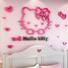 3D Creative Hello Kitty Mirror Surface Wall Sticker For Kids Rooms Bedrooms Acrylic Mural Poster Home Decoration JTZS72