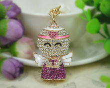 XC Angel Keyring Rings Fashion Jewelry Women Bag Crystal Rhinestone Charm Pendant Bag KeyChain Valentine Gift(China)