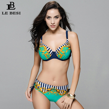 LEBESI 2017 Sexy Bikinis Set Print Push Up Bikini Russian Plus Size Women's Swimwear Large Size Biquini 48-56 Swimsuit CDEFG Cup