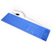 kebidumei Best Free Drop Shipping 109Key Blue/Black Silicone Soft Foldable Portable Keyboard(China)