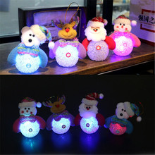 HAOCHU 4Pcs Christmas Ornaments with Lamp Bling Room Office Tree Scene Light Drop Pendant Decoration Bow Children Favor Gift