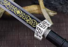 Battle Ready Chinese Han Dynasty Sharp Sword 8 Side Manganese Steel Gilt Black Blade