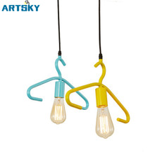 Modern Creative Colorful Metal Painted Art Hanger Type Single Head Pendant Lamp for Bar Restaurant Bedroom Shopping Mall E27