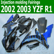 100% Injection molding motorcycle fairings for YAMAHA  fairing kit 2002 2003 blue flames in black YZF R1 02 03 JK38 +7 gifts