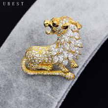 UBEST AAA Cubic Zirconia Two Colors Vintage Style Tiger Brooch Pins Large Shiny Stone
