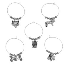 "8SEASONS Created Hematite Wine Glass Charms Table Decorations Mixed Animal Pendants Antique Silver 40mm(1 5/8"") x 35mm,1 Set"