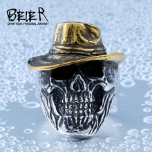 BEIER New Store 316L Hot Sell 316LStainless Steel Winged Plated-Gold Hat Skull Biker Ring Cool Punk Ring Jewelry BR8-417