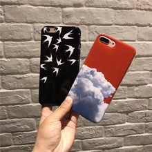 2017 Luxury Fashion Simple White Cloud Swallow TPU Soft Silicone Couple Phone Case Cover For iPhone 6 6S Plus 7 7 Plus Case