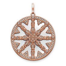 925 Sterling Silver Rose Gold Color Mother-of-pearl Disc Karma Wheel Pendants Fit Necklaces, Thomas Style Jewelry for Women Men(China)