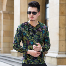 Manufacturers Supply Velvet V-Neck Long-Sleeve Men T-Shirt Luxury Quality Printing Flower Bottoming Shirt Plus Size S-3XL