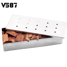 Stainless Steel BBQ Gas Grill Smoker Box With Lip Durable Home Garden Outdoor Flavor Wood Chips Barbecue Tool Accessories(China)