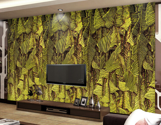 Custom retro wallpaper,Banana leaf color carving,3D landscape for living room bedroom restaurant wall waterproof wallpaper<br>