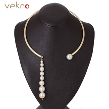 VEKNO Gold Color Torques Long Imitation Pearl Necklaces Women 90s Fashion Gothic Collar Choker Necklace Collier Femme Jewelry