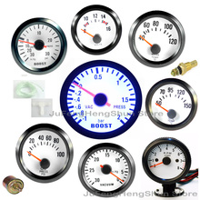 "2"" 52mm Boost Gauge Psi Bar Water Temp Oil Temperature Oil Press Volt Tachometer Vacuum INDICATOR Meter Pointer Blue LED Light(China)"