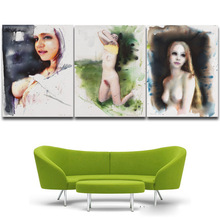 3 Panel home decoration abstract art Wall pictures watercolor Nude painting Canvas Print Prints for home decor Unframed