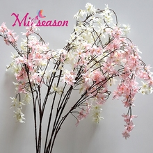 Miiseason 150cm 4 forks Natural Silk Cherry Blossom For Wedding Decor DIY Cherry Trees Artificial Chlorophytum Orchids Flowers