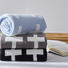 Ins New Brand Cotton Thick Large Black White Cross Knitted Plaids Blanket Children School Bedding blankets Baby Swaddle 4 Colors