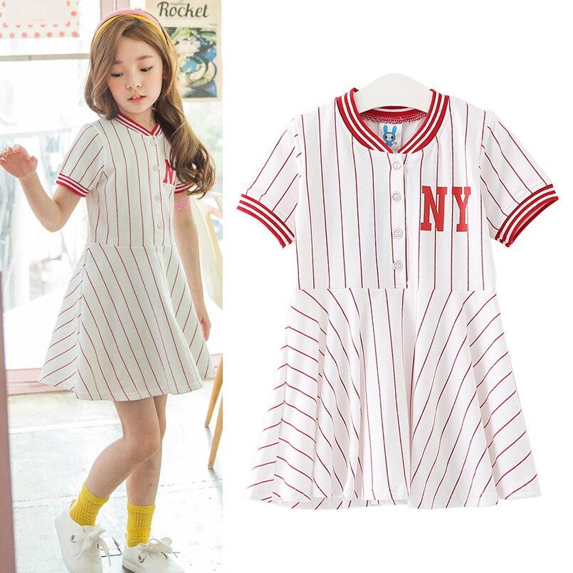 Kids Girls Dress Cotton Letter Print Striped Short Sleeve Children Clothing Summer Preppy Style Children Girls Dress 4 5 6 7 14T<br><br>Aliexpress
