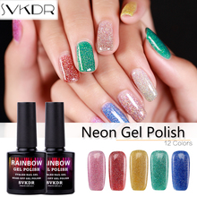 SVKDR Bling Bling Neon Gel Polish 10ml UV&LED Nail Gel Long-lasting Gel 12 Color Nails Varnish Soak Off Gel For Nail Art(China)