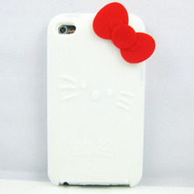 8 Colors Bowknot Hello Kitty Silicone Soft Back Case Cover for Apple Ipod Touch 4
