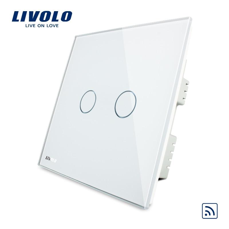 Livolo, Wireless Switch, VL-C302R-61,100% Hot Sale, Ivory White Crystal Glass Panel, Wireless Remote Home Light UK Switch<br><br>Aliexpress