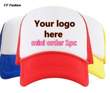 1pc quick custom logo baseball caps snapback ADULT SIZE trucker cap quality mesh baseball hat DIY texts print hot sale