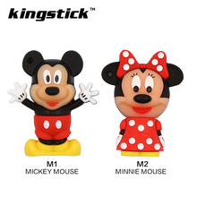 Cute minnie/mickey mouse Memory stick cartoon pen drive 8gb pendrives 32gb usb flash drive 16gb 8gb 4gb Memory usb stick gift(China)
