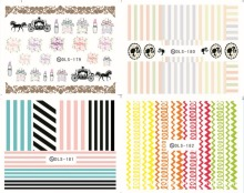 Mix Order: $0.7 3D Korea Design Tips Nail Art Watermark Nails Stickers Decals DIY Nail Art Decorations DLS175-184