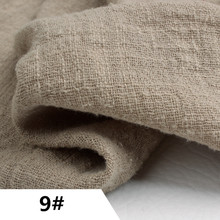 9# Fabric For Patchwork Natural Light Brown Cotton Baby Fabric Dyed Slub Linen Cotton Fabrics 50X135cm Skirt Tissus Doll Cloth(China)
