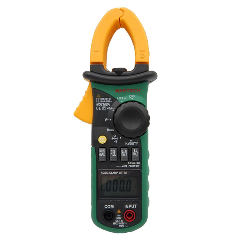 Mastech MS2108A Digital Clamp Meter Auto range Multimeter AC 400A Current Voltage Frequency clamp MultiMeter Tester Back<br><br>Aliexpress