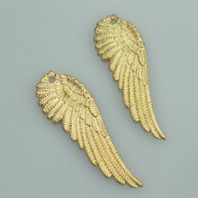 51*18mm Wholesale 30pcs Fashion Champagne Gold tone angel wings charms metal pendants for diy jewelry  A33107
