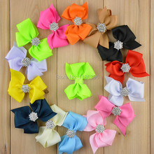 20pcs/lot 7cm 14colors Girls Pretty Grosgrain Bowknot Boutique Rhinestone Center without Clip DIY Crafts Hair Accessories