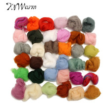 New Arrival 36 Colors Wool Fibre Roving Sewing For Needle Felting Hand Dyed Spinning DIY Fun Doll Needlework Raw Wool Crafts