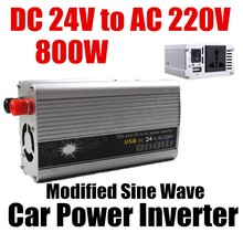 800W WATT DC 24V to AC 220V Portable USB Car auto voltage Power Inverter Adapter Charger Voltage Converter Transformer Universal