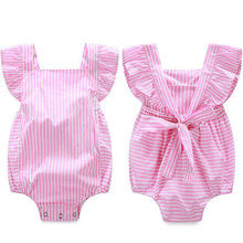 Baby rompers infant girl Newborn baby clothes Striped cotton suspenders sleeveless rompers suits Coverall(China)