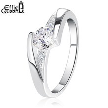 Effie Queen 2017 Fashion Women Ring Mounting 0.6 ct CZ AAA Zircon for Woman Wedding Engagement Rings Jewelry DR02(China)