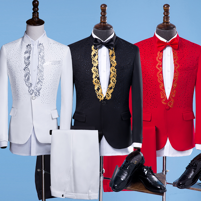 New Arrival Men Suits Gold Embroidery Blazers Slim Fit Red White/Black Suits Wedding Business Male Tuxedos Single Buttons Suit