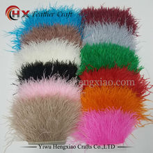 wholesale dyed leather ostrich feather fringe trims 1yard per lot natural ostrich feather ribbon trim for skirt costume dress(China)