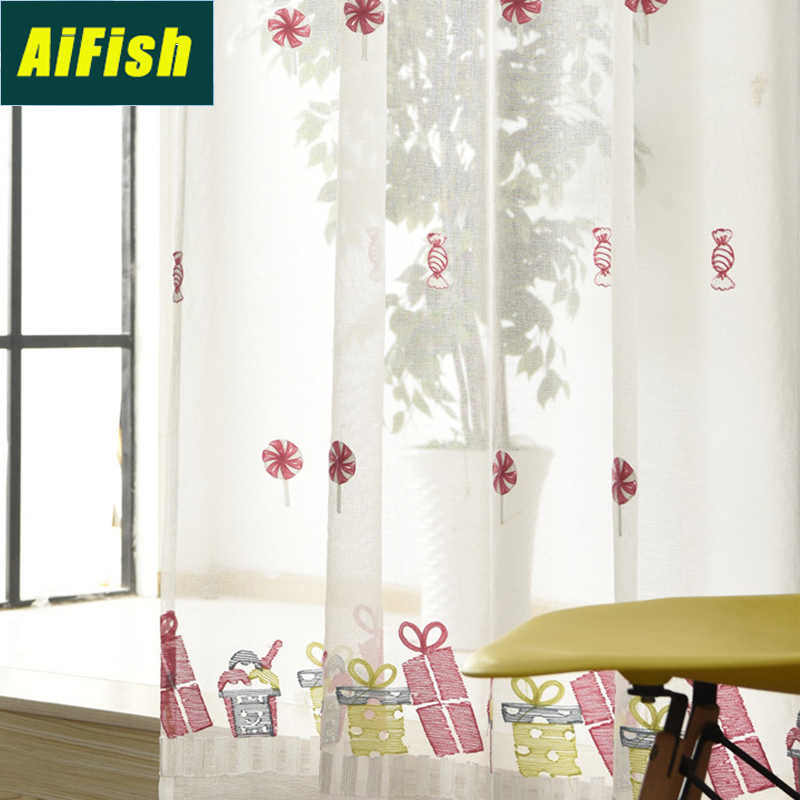 Pink Candy Patterned Embroidered Sheer Curtains for Kids Girls Bedroom Window Treatment Curtain Tulle Voile Drapes Kitchen M0942