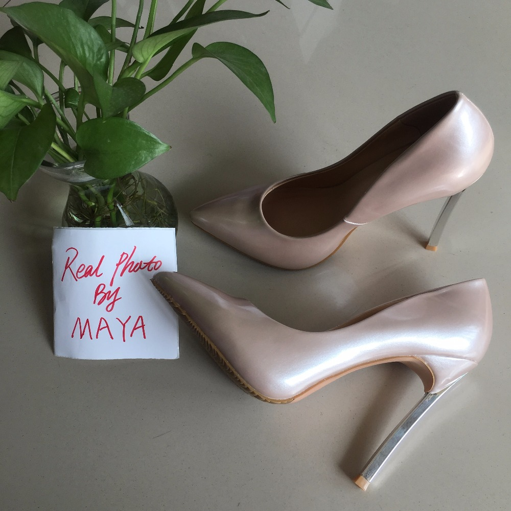 MAYA  REAL PHOTO 2017 Sexy women high heels pearl patent  women pumps <br>